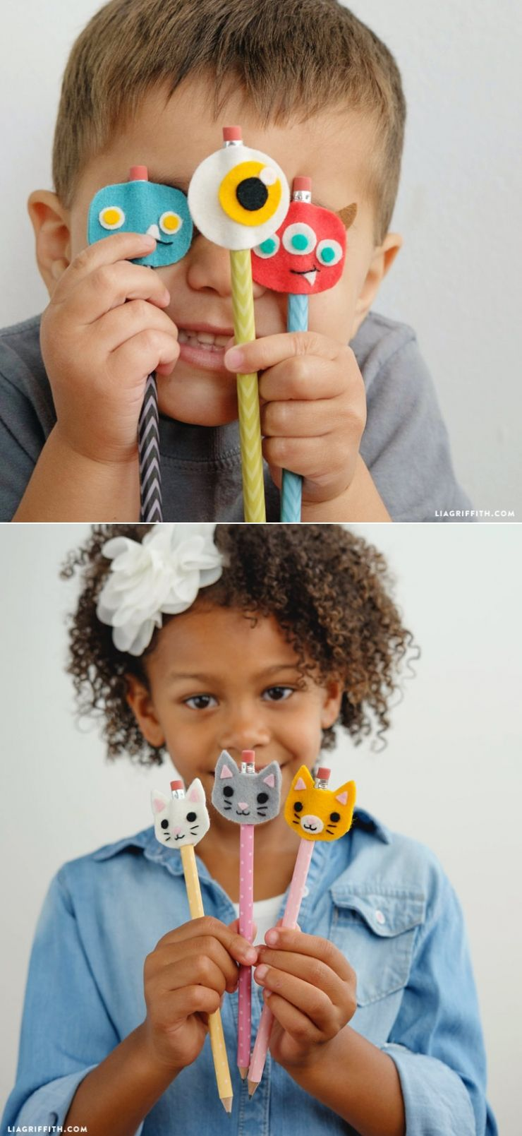Monster and Kitty Felt Pencil Toppers | DIY Felt Projects ...