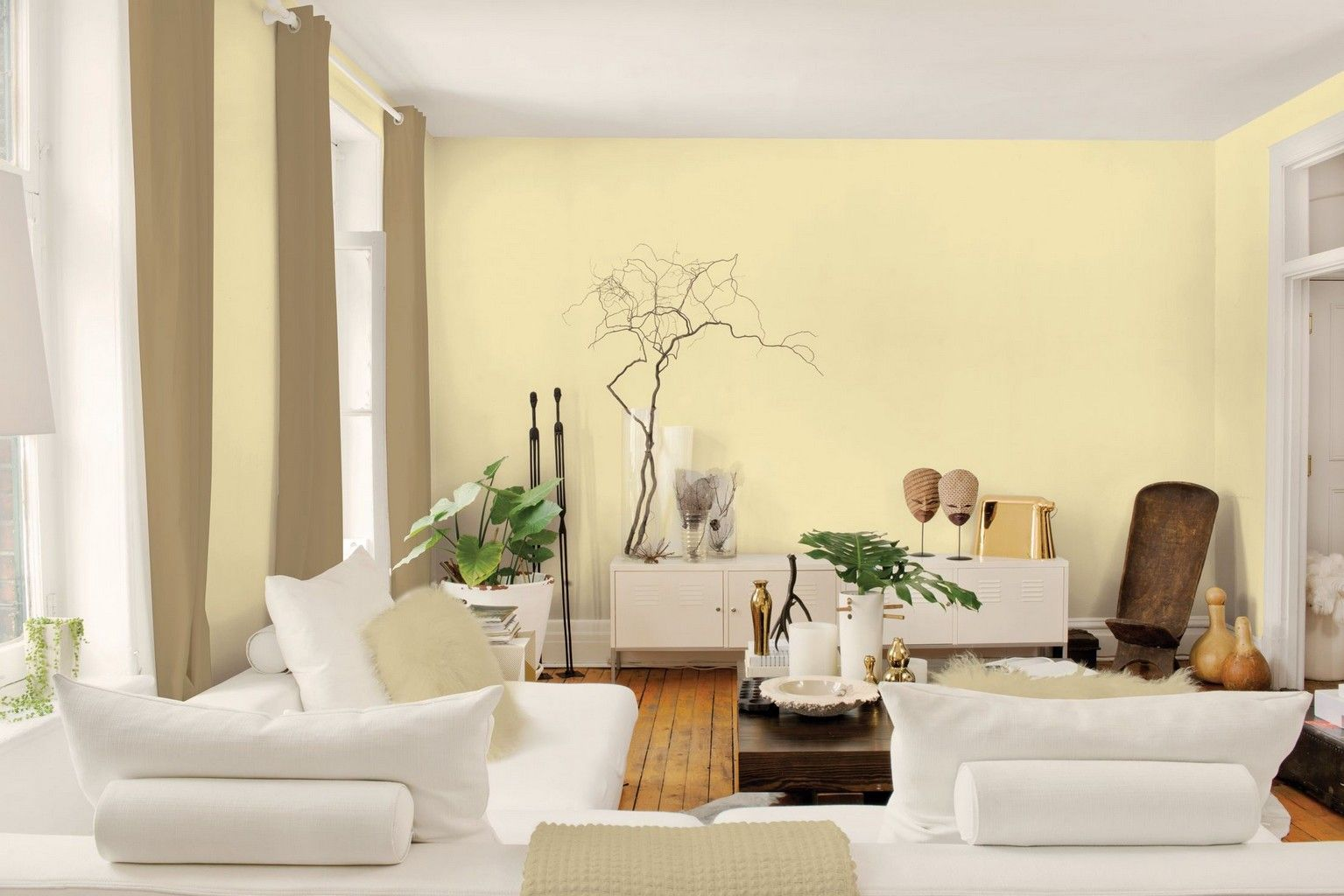 White Wall Paint Color Living Room with Wood Flooring Ideas and ...