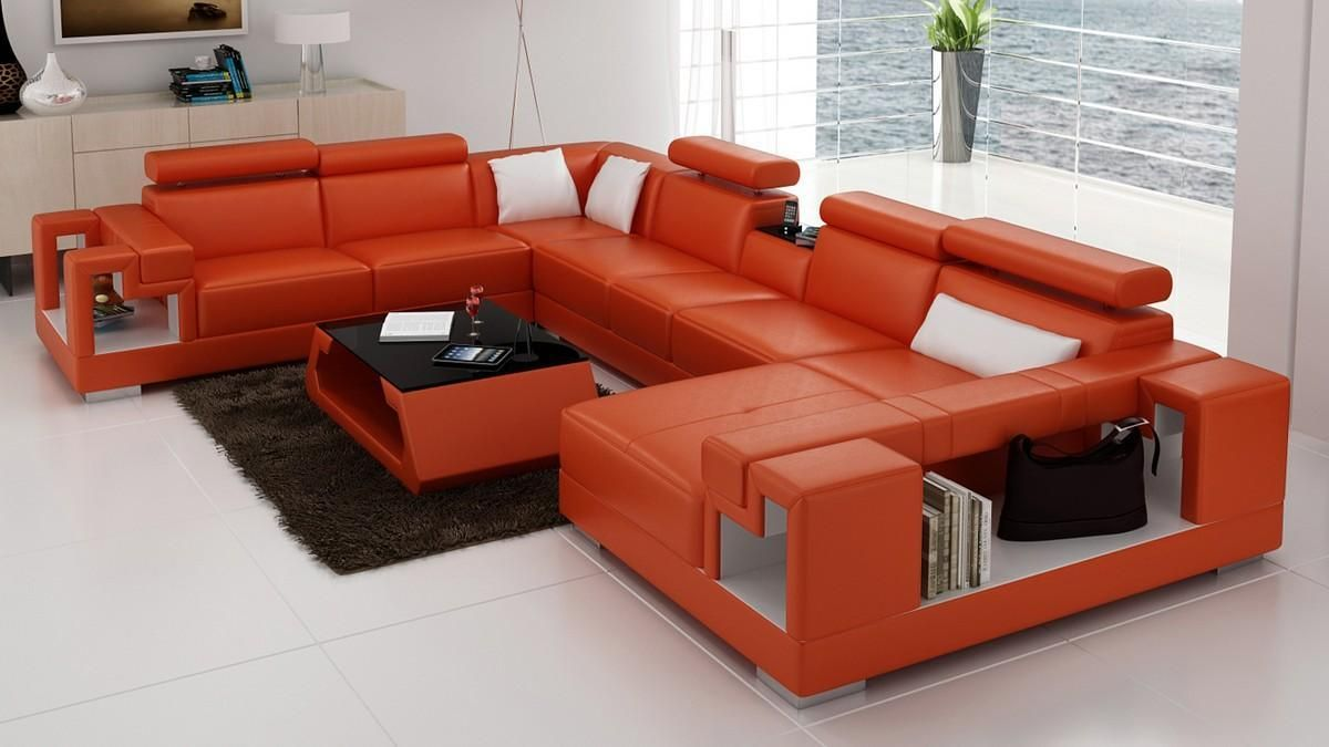 Stylish Design Furniture Divani Casa 6138 Modern Orange And