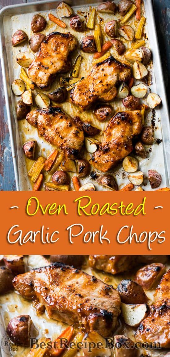 Roast Pork Chops Recipe or Oven Baked Garlic Pork Chops | Super Juicy!
