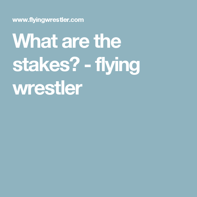 What are the stakes? - flying wrestler