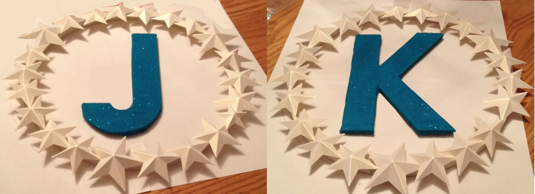 Wreaths for Jonathan and Katy's wedding rehearsal dinner - 3D origami stars of metallic white paper with sparkly letters