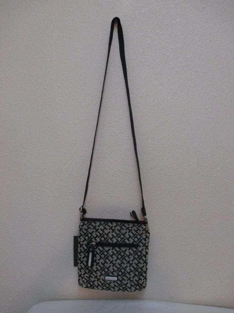 Tommy Hilfiger Small XBody Handbag 6916026 002 Black Beige Silver Retail $59.00 #TommyHilfiger #MessengerCrossBody