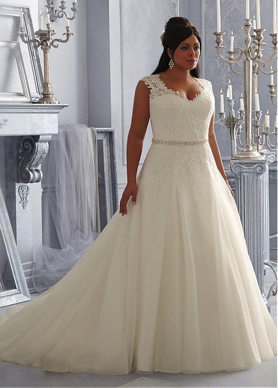 27eac41dc37 Charming Organza   Tulle V-neck Neckline Natural Waistline A-line Plus Size  Wedding Dress With Lace Appliques