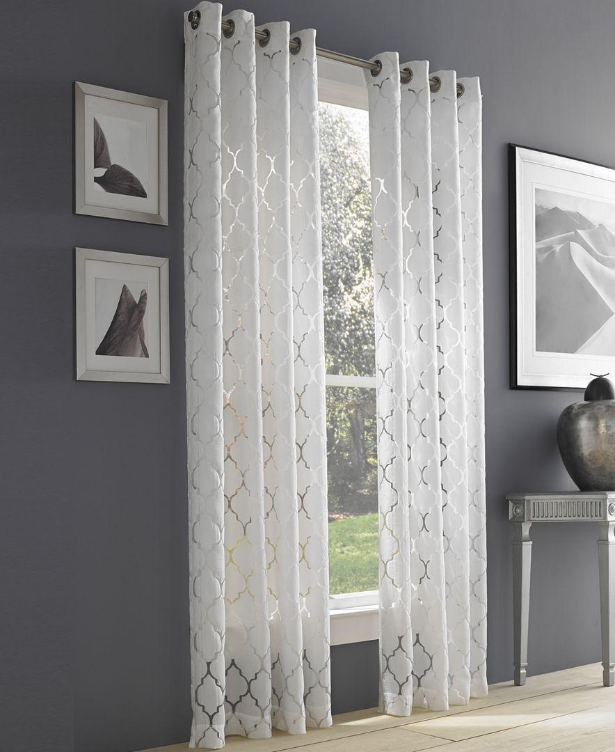 J Queen New York Geneva White Semi Sheer 50 X 63 Grommet Curtain Panel White Paneling Grommet Curtains Drapery Panels