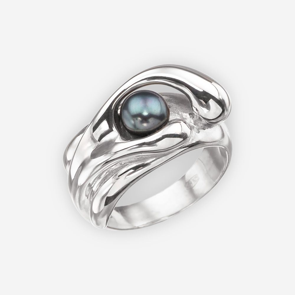Abstract Black Pearl Ring With A Unique Modern Design Crafted In Sterling  Silver Set With A