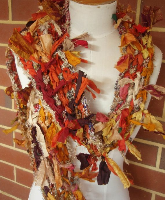 Earthy Autumn Boho Tattered Recycled Sari Silk Scarf