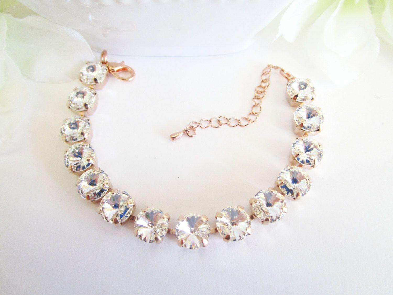Swarovski bracelet bridal bracelet blush crystal bracelet rose