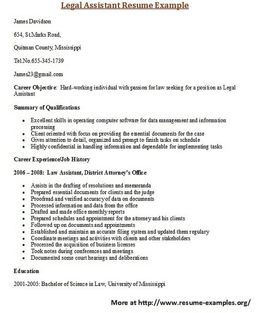 For More And Various Legal Resumes Formats And Examples Visit Www