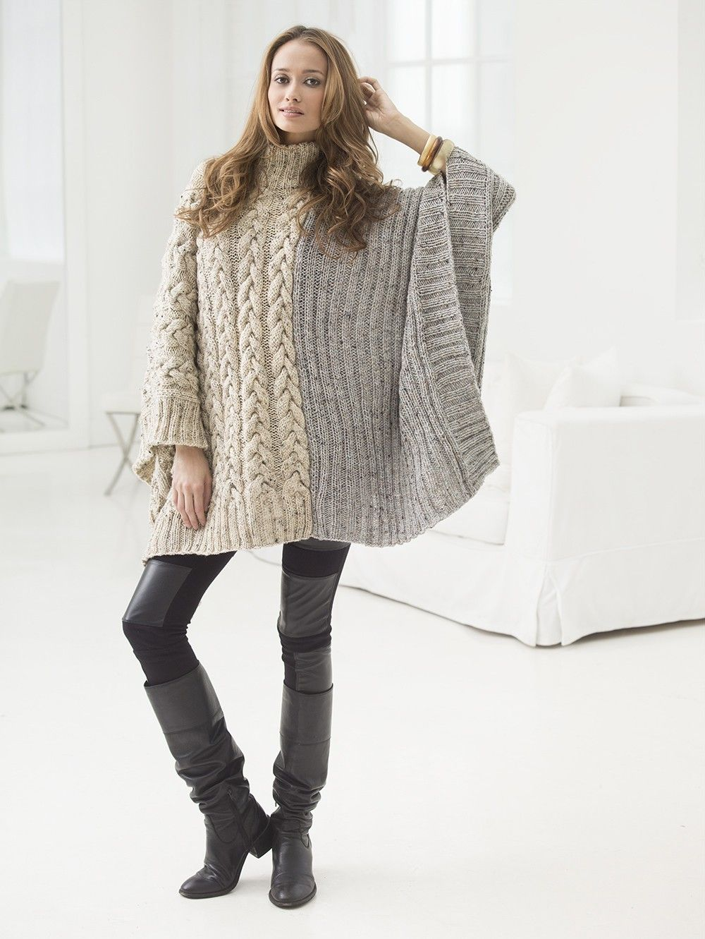Cabled Poncho Knitting Pattern and Kit - Knit this poncho on sale ...