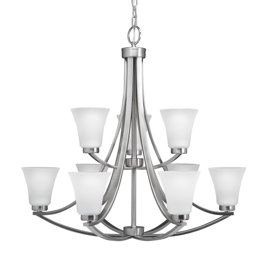 Shop Portfolio 34400 9 Light Lyndsay Brushed Nickel Chandelier At Lowes Canada Find Our Selection Of Chandeliers The Lowest Price Guaranteed With