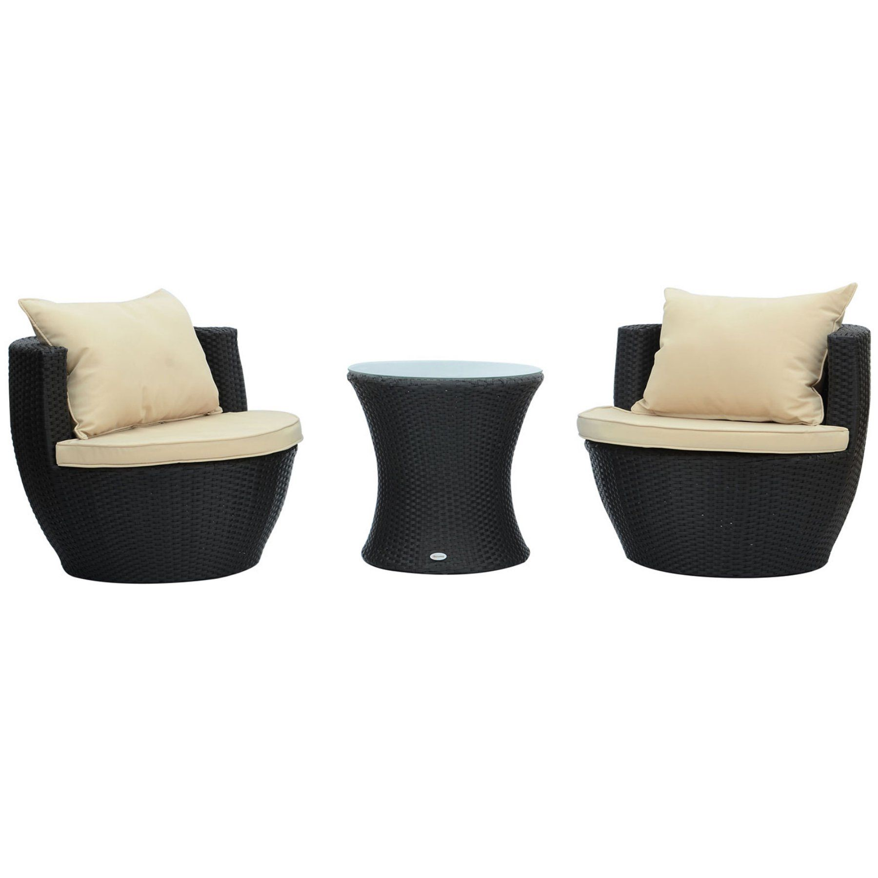 Outsunny 3 piece rattan wicker outdoor stacking patio chair set 01 0588