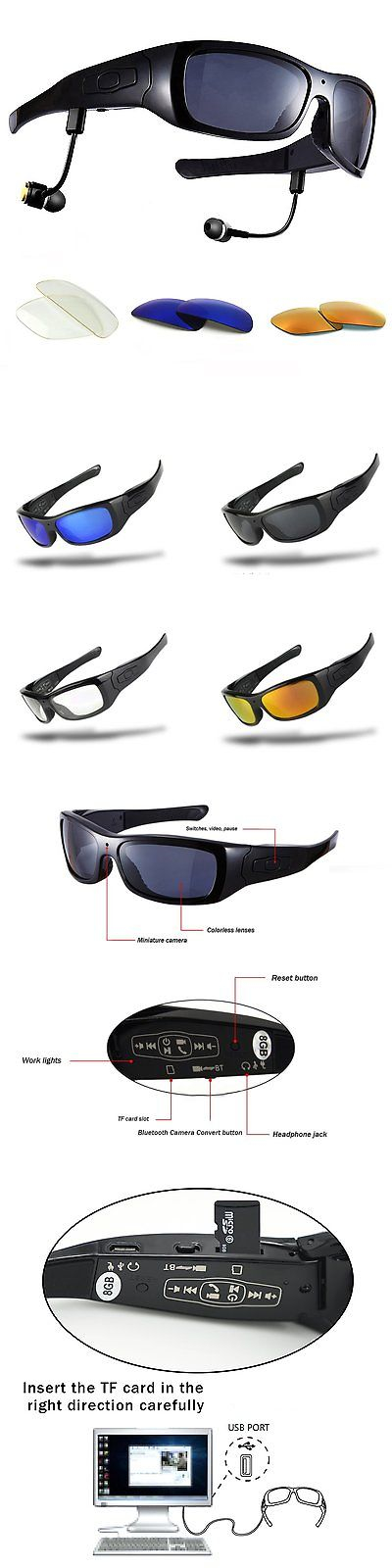 d44fd65f2c Video Glasses  Forestfish Bluetooth Sunglasses With Camera 8Gb Sd Card Hd  720P Video Camera