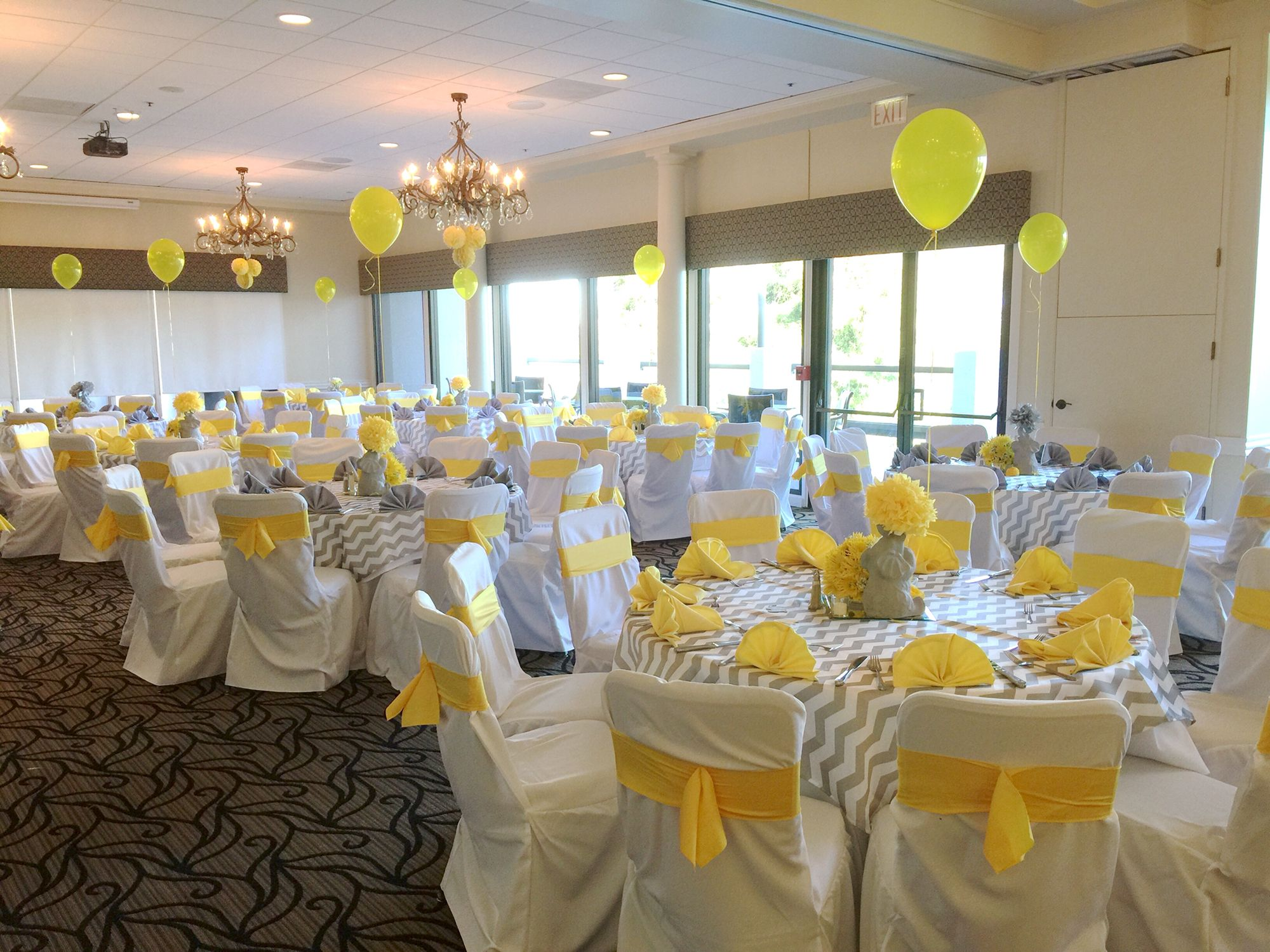 Table Settings For Yellow And Grey Baby Shower