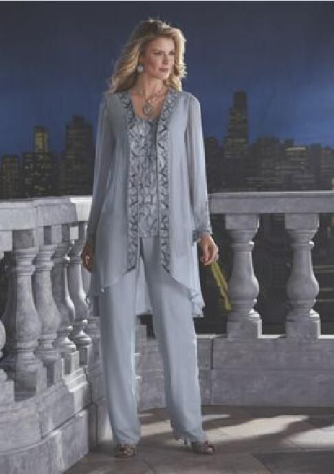 845bb28af7f 2016 Shining Beads Jewel Mother Of The Bride Pant Suits Plus Size Long  Sleeve Jacket Custom Made Chiffon Three Pieces Bridal Wedding Dresses  Formal Dresses ...