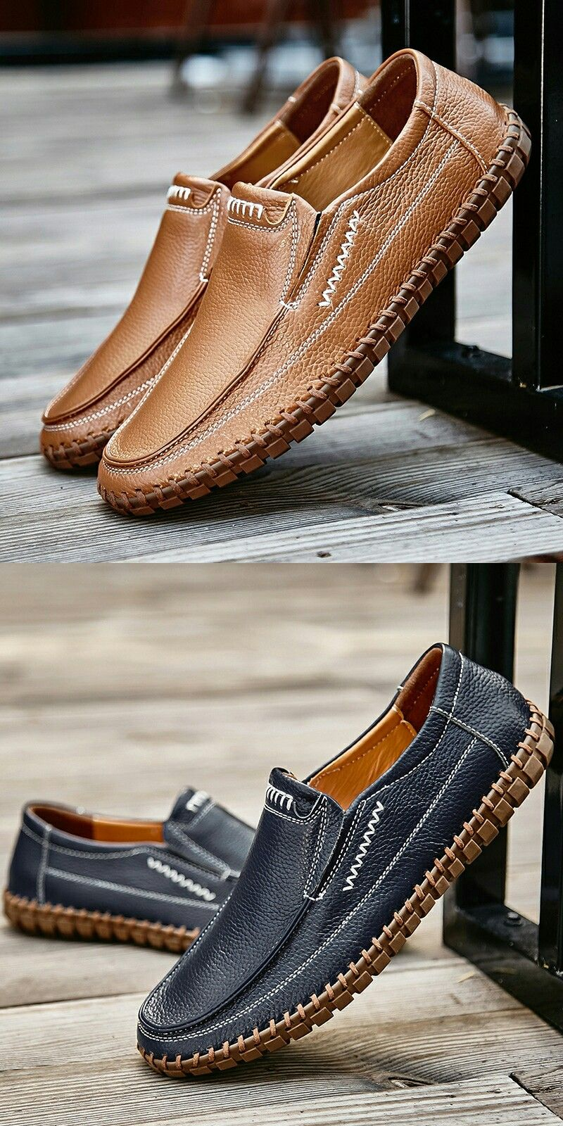 Handmade Spring Soft Men's Natural Leather Shoes Casual Slip On Driving Loafers Stitching Shoes