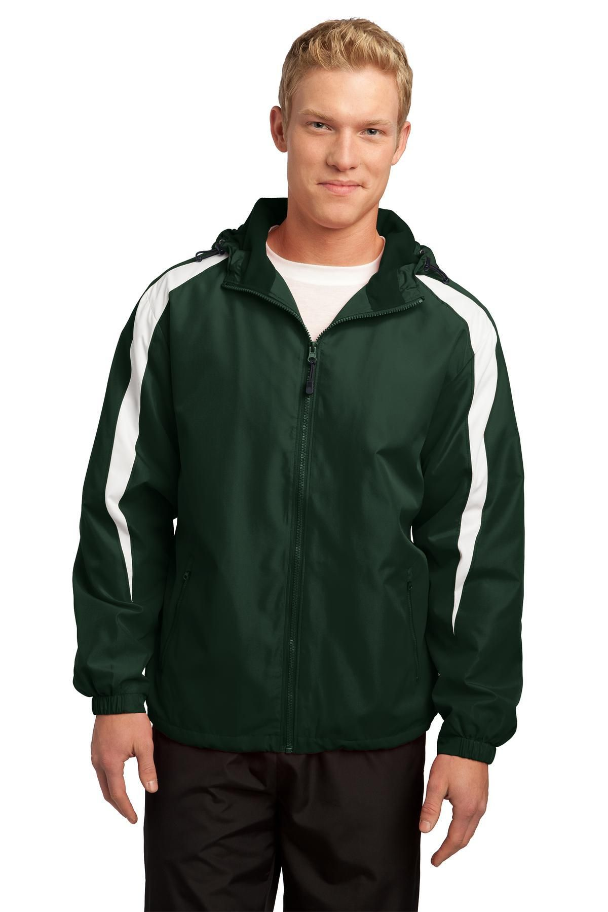 SportTek FleeceLined Colorblock Jacket JST81 Forest