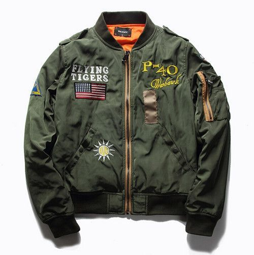 ae6342aea87 Ma1 Bomber Jacket Men 2016 Thick Flying Tigers Embroidered Badge Jacket for Pilot  Flight Jacket Homme Baseball Military Coats