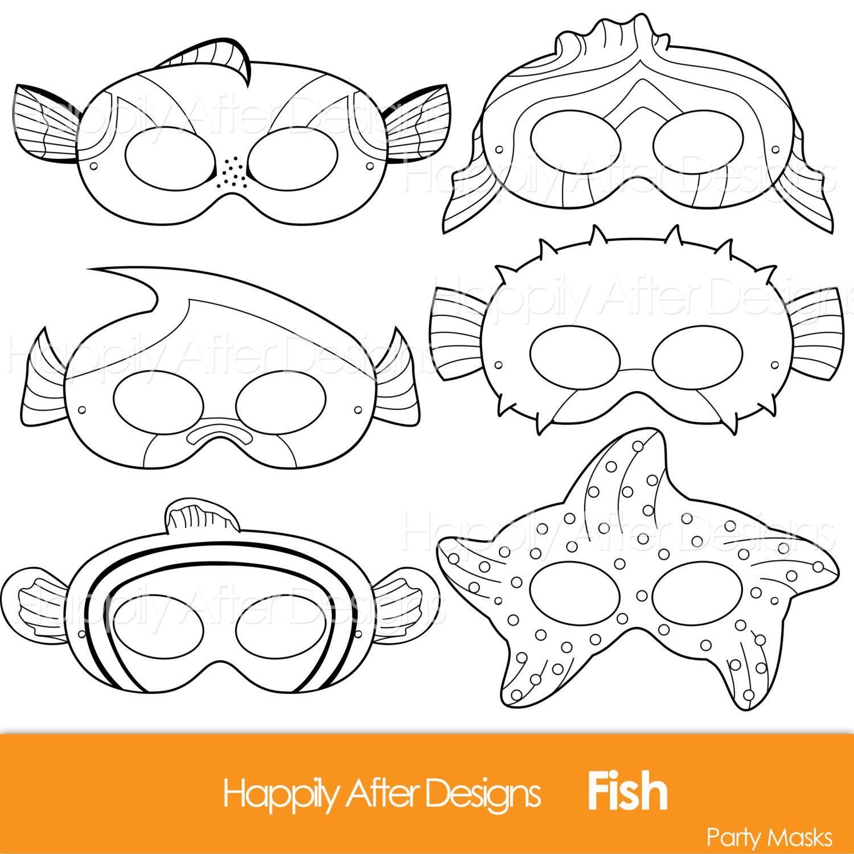 Fish Printable Coloring Masks, clownfish mask, blue tang