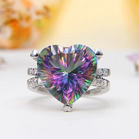 rainbow mystic topaz heart ring mystic topaz jewelry