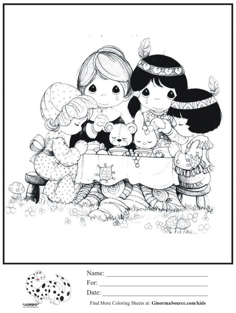 precious moments coloring page pilgrims indians