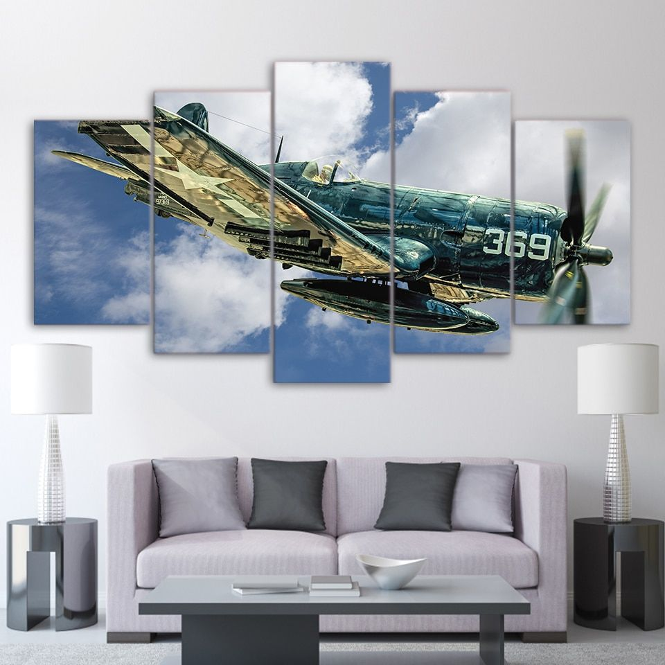 5 Pieces Hd Printed Jet Aircraft Vintage Plane Canvas Painting Airplane Wall Art Customized Canvas Art Canvas Wall Art