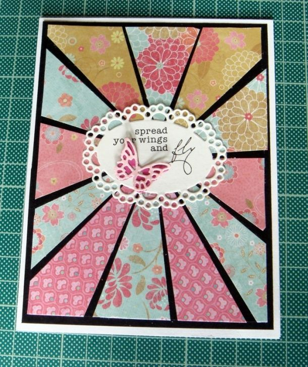 How To Make A Contrast Starburst Card Sunburst Cards Patchwork Cards Stamped Cards