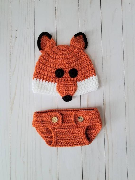 Crochet Newborn Photography Fox Outfit Prop ce054eef9d7