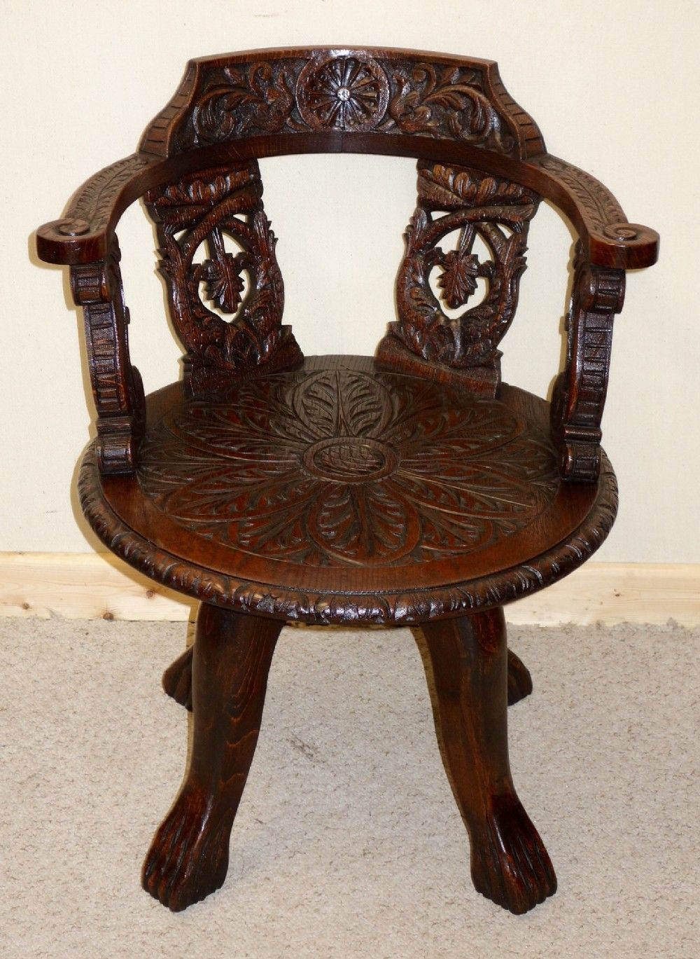 VICTORIAN CARVED OAK OFFICE SWIVEL CHAIR.c.1880.