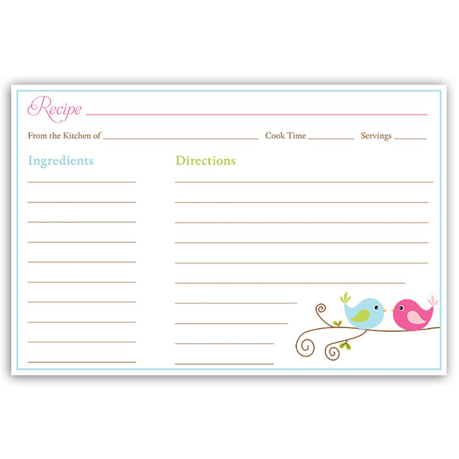 Love Birds Recipe Card Recipe Cards Template Recipe Cards Recipe Cards Printable Free