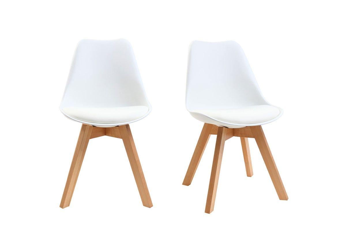 lot de 2 chaises design pietement bois blanches pauline zoom