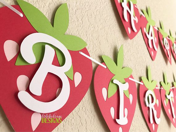 Cartel de feliz cumpleanos de frutillita