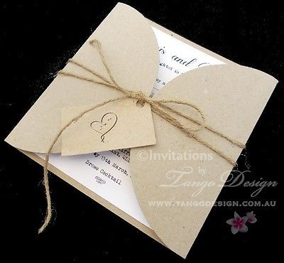 Petal Fold Invitations - 1 x Sample - Invites cards rustic weddings - invitation letter for home party