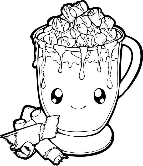Dessertie Hot Chocolate Lineart By Chibivi Linearts Hot Chocolate Drawing Kids Coloring Books Coloring Pages