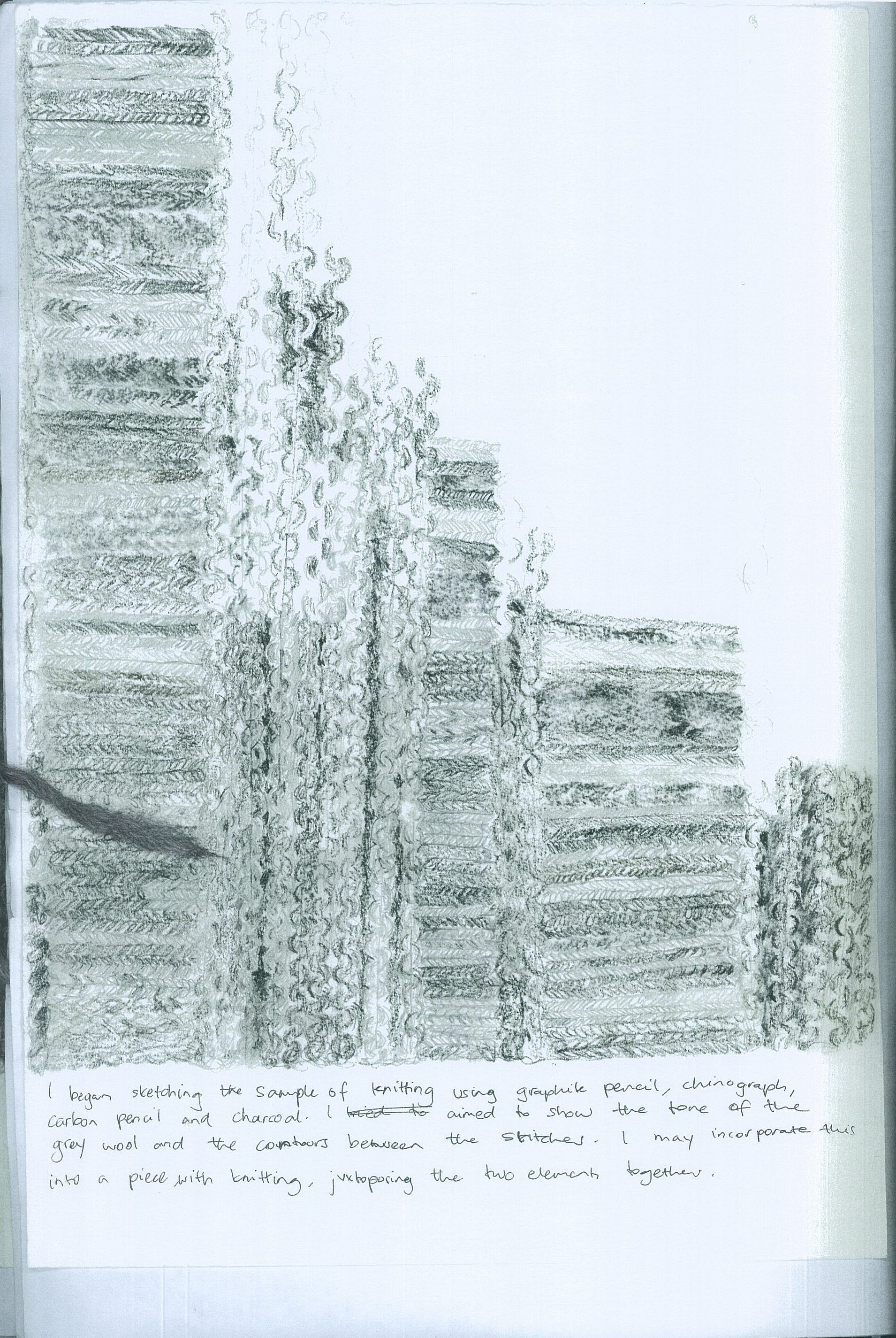 Folio - VCE Art drawing of knitted fabric