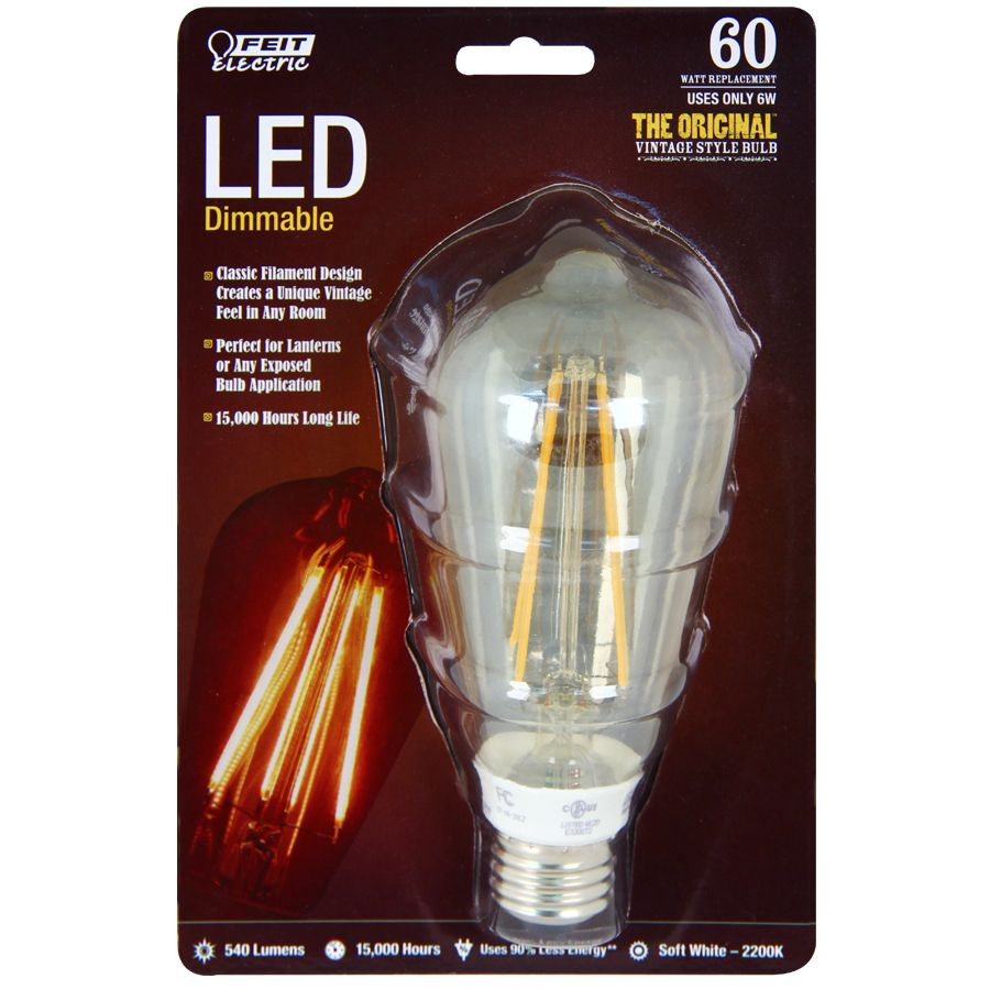 Shop Feit Electric 6 Watt 60w Equivalent 2 200k Medium Base E 26 Soft White Dimmable Decorative With Images Vintage Light Bulbs Dimmable Led Lights Vintage Style Light