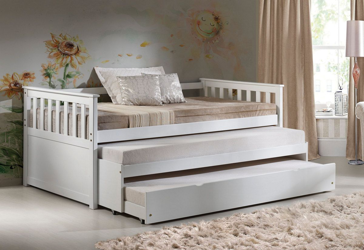 Kids White Twin Roll Out Trundle Bed Twin Trundle Bed Trundle