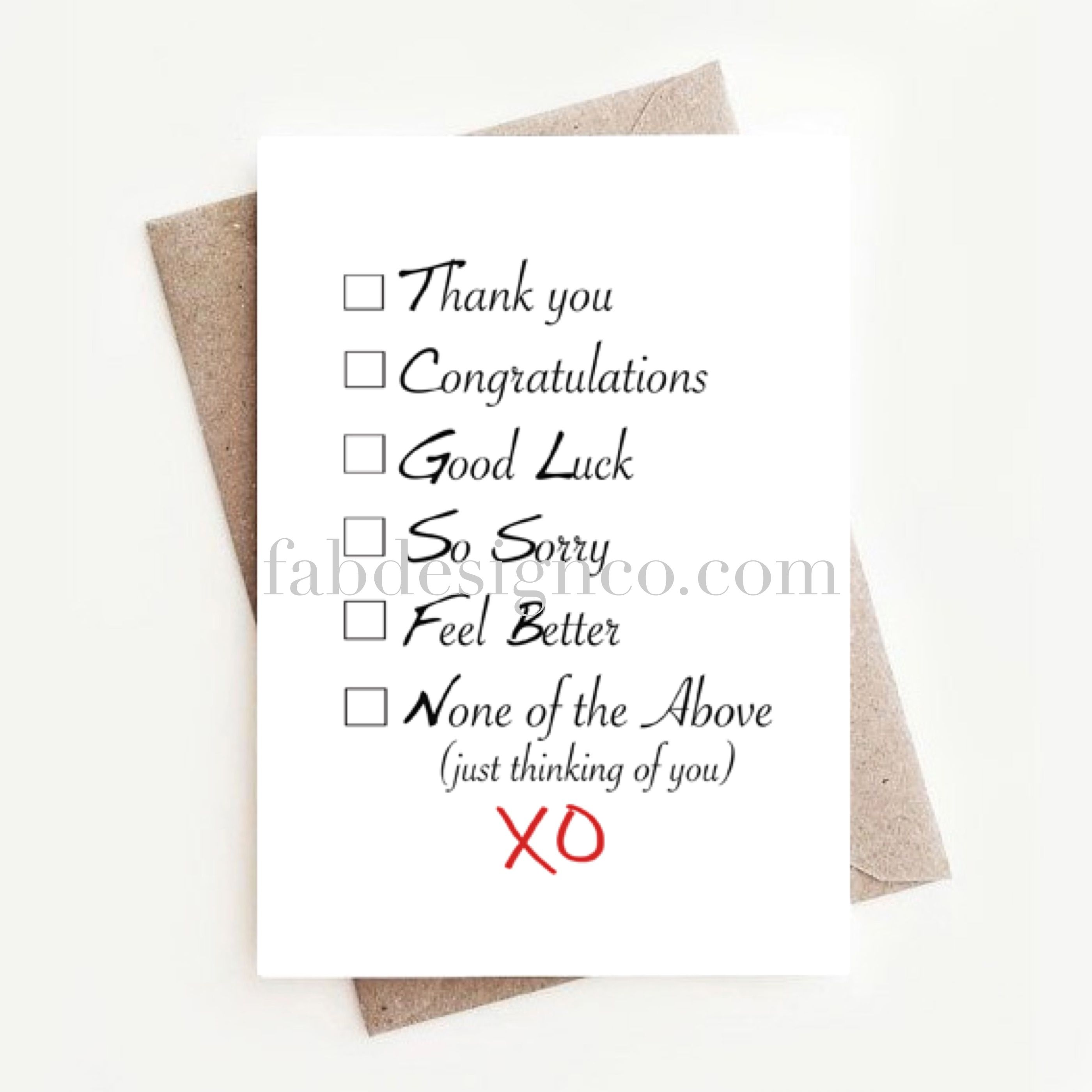 Thank You Greeting Card Congrats Greeting Card Sorry Greeting Card