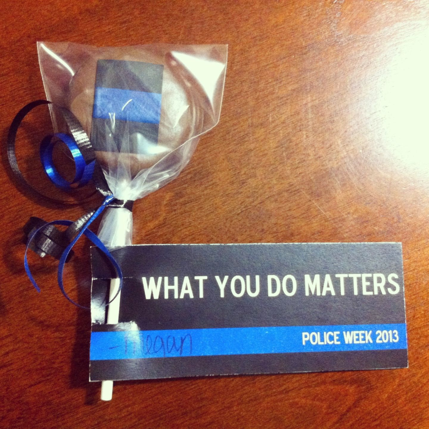 Chocolate dipped blue line Oreos for police week. Law