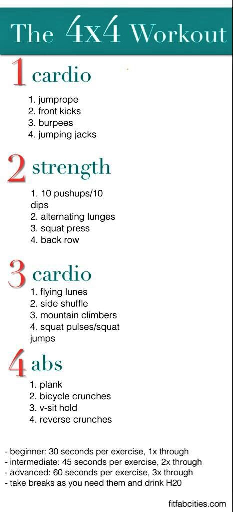 The 4x4 workout | Health & Fitness | Pinterest | 4x4, Workout and ...
