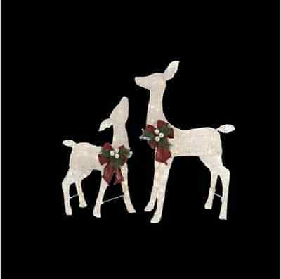 Led Lighted Reindeer Christmas Outdoor Yard Decor White Deer Set Of 2 Indoor Pvc Nbnb