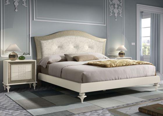 Dormitorio con cabecero tapizado en terciopelo con 3 botones y ...