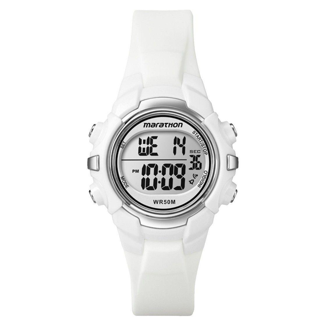 4c1db2e03e4c Marathon By Timex Women s Digital Sports Watch with White Top Ring - White