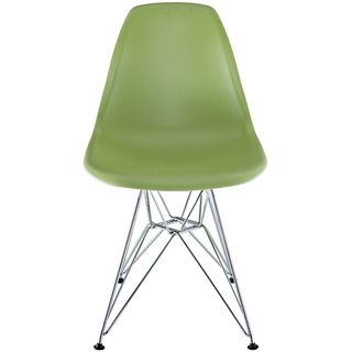 modway green plastic side chair with wire base light green