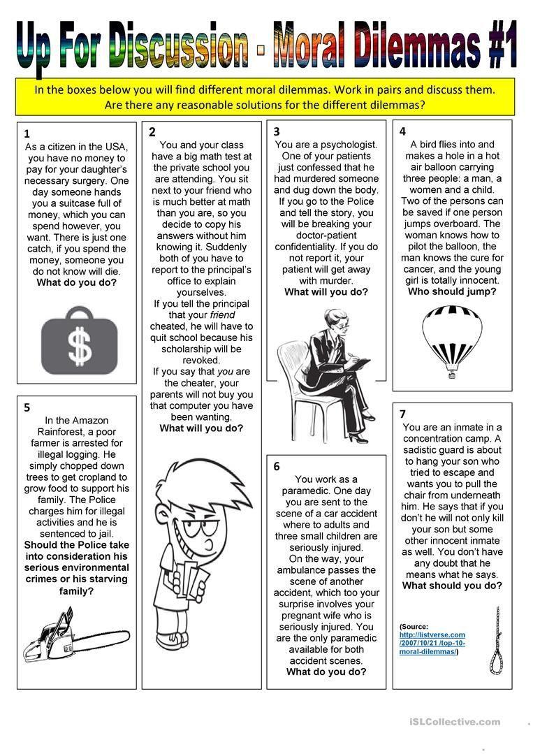 Up For Discussion Moral Dilemmas 1 Worksheet Free Esl Printable Worksheets Up For Discussion Moral Dilemmas In 2020 Moral Dilemma Teaching Ethics Morals