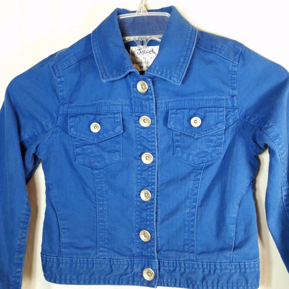 Justice Girls Jean Jacket Size 12 Royal Blue Denim Stretch Side Pockets Jean Jacket For Girls Light Blue Jean Jacket Girls Jeans [ 1000 x 1000 Pixel ]