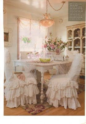 Ruffled Chairs Just Dreamy This Dining Room Is So Me I Could Move Right Inits Soft And Pretty