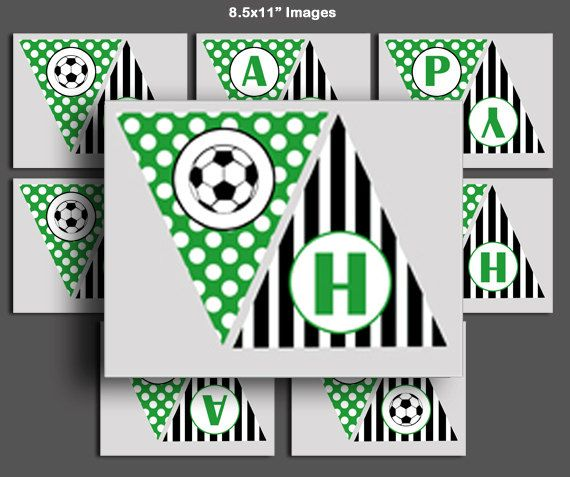Soccer Banner Printable - Happy Birthday and Soccer Ball Images ...