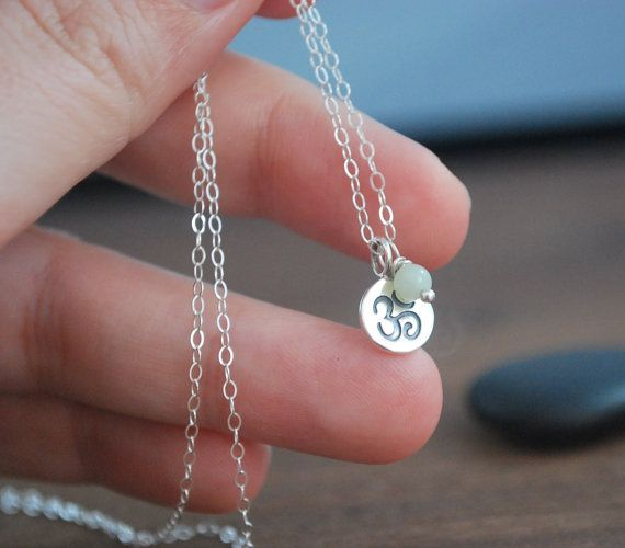 Solid silver Om  Amazonite Sterling silver by KatieBourchier