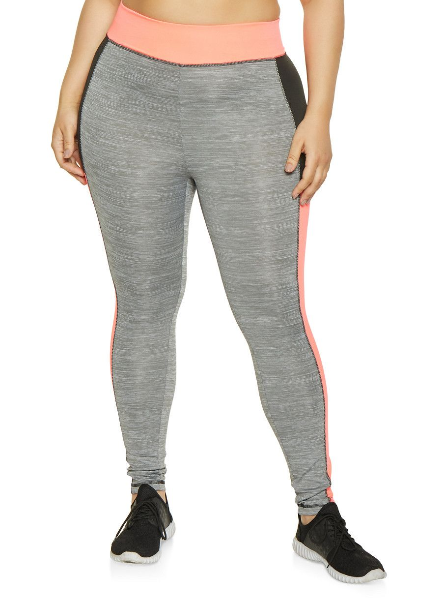 f9407958eef157 Plus Size Color Block Activewear Leggings | 1951038341748 - Grey - Size 2X